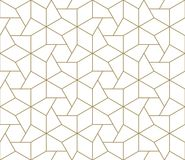 Modern Simple Geometric Vector Seamless Pattern With Gold Line Texture On White Background. Light Abstract Wallpaper Stock Photos