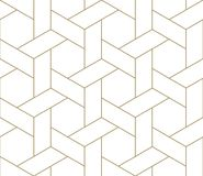 Modern Simple Geometric Vector Seamless Pattern With Gold Line Texture On White Background. Light Abstract Wallpaper Stock Images