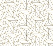 Modern Simple Geometric Vector Seamless Pattern With Gold Line Texture On White Background. Light Abstract Wallpaper Royalty Free Stock Images