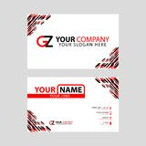 Modern simple horizontal design business cards. with GZ Logo inside and transparent red black color. Something like Modern simple horizontal design business vector illustration