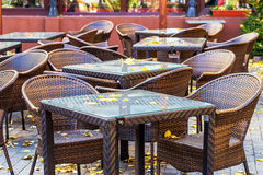 Modern and simple interior of the cafe with rattan furniture aut Royalty Free Stock Photos