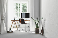Modern simple office with trestle desk Stock Photo