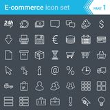 Modern, stroked e-commerce icons isolated on dark background vector illustration