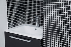 Modern sink in black and white Stock Image
