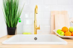 Modern sink and faucet in the kitchen room. Kitchen interior. Golden metal faucet and modern sink, next to which are cleaning products, houseplant, fruit and stock photography