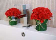 Modern sink and flower Royalty Free Stock Photo
