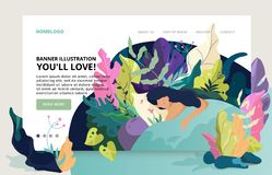 Modern site banner nature theme. Fantasy modern design. Fantasy leaves background template. Dreaming fantasy illustration. Making a dream concept. Flat style vector illustration