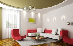 Modern sitting room. 3d rendering of the modern sitting room Stock Photography