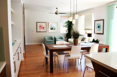 Modern sitting room and dining area Royalty Free Stock Photos
