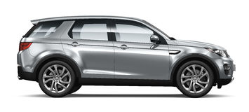 Modern siver SUV on white - side view Royalty Free Stock Images