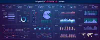 Modern skärm för nätverksledningdata med kulöra diagram och diagram med moment, alternativ, delar eller processar Diagram royaltyfri illustrationer