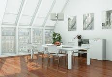 Modern skandinavian interior design dining room in white style. 3d Illustration Royalty Free Stock Photography