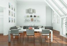 Modern skandinavian interior design dining room in white style. 3d Illustration Royalty Free Stock Image