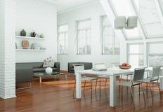 Modern skandinavian interior design dining room in white style. 3d Illustration Stock Photos