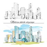 Modern sketch buildings cityscape Stock Photo