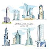 Modern sketch buildings colored vector illustration