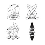 Modern Sketch isolated set of surfing illustration logo emblem with lettering. Design element, Logo. Royalty Free Stock Photos
