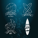 Modern Sketch  set of surfing illustration logo emblem with lettering. Design element, Logo. Royalty Free Stock Photos