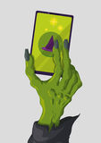 Modern Skinny Witch Hand with a fashion smart phone, Vector Illustration. Green skinny witch hand holding a smart phone Stock Images