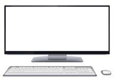 Modern skrivbords- dator med den tomma skärmen Royaltyfria Bilder