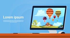 Modern skrivbords- dator med färgrika luftballonger som flyger i himmelbild stock illustrationer