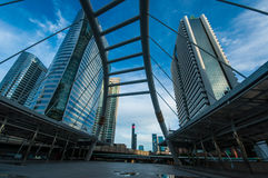 Modern Sky Pedestrian Bridge at Bangkok. Morning Sky Reflection on Windows, Chongnontri Station, Bangkok Stock Photos