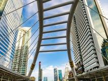 Modern Sky Pedestrian Bridge. At Bangkok, Thailand Royalty Free Stock Images