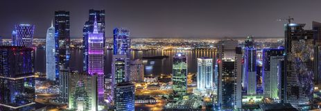 The modern skyline of the City Center West Bay of Doha, Qatar stock image
