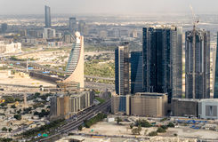 Modern skyline of Dubai, aerial view Royalty Free Stock Photo