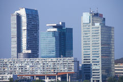 modern skyline with glass architecture and skyscrapers Stock Photo