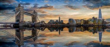 The modern skyline of London during sunset, UK. The modern skyline of London during sunset: from the Tower Bridge to London Bridge stock photos