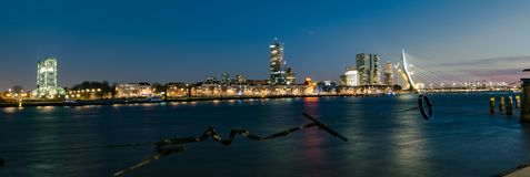 Panoramic view of Erasmus bridge and skyline of Rotterdam, The Netherlands royalty free stock images