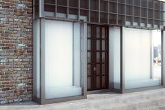 Modern skyltfönster med det tomma banret stock illustrationer