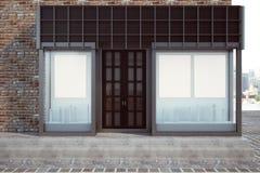 Modern skyltfönster med det tomma banret royaltyfri illustrationer