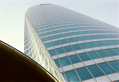 Modern skyscraper. A view looking upwards along the exterior of a tall modern office building Stock Photo