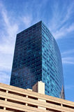 Modern skyscraper building. Low angle view looking to top of modern skyscraper buildings with blue sky and cloudscape background, Boston, Massachusetts, U.S.A Stock Photo