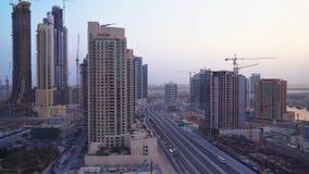 Modern skyscraper in Downtown Dubai at dawn stock photos