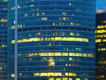 Modern skyscraper illuminated at night Royalty Free Stock Image