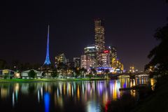 Skyline of Melbourne and the Yarra River, Melbourne, Australia. stock photography