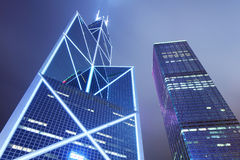 Modern skyscraper at night Stock Image