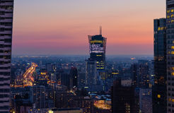 Modern skyscraper in Warsaw after sunset, Poland. Europe royalty free stock image