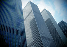 Modern skyscrapers. Low angle view of modern office skyscrapers in New York city, U.S.A Royalty Free Stock Photo