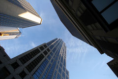Modern skyscrapers. Low angle view of modern skyscrapers with blue sky and cloudscape background, Seattle, U.S.A Stock Photography