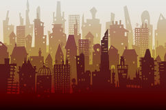 Modern skyscrapers on big City background made of many building silhouettes Royalty Free Stock Photography