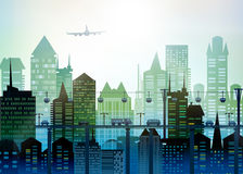 Modern skyscrapers of the big City. Background with roads, bridges and cars Stock Image