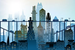Modern skyscrapers of the big City. Background with roads, bridges and cars Stock Photos