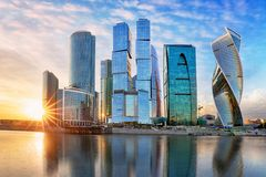 Modern skyscrapers business center Moscow - City in Russia stock photography