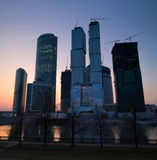Modern skyscrapers business centre at sunset Stock Photo