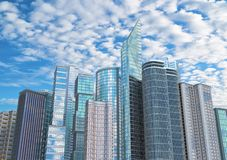 Modern skyscrapers in business district against cloudy sky. stock photos