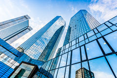 Modern skyscrapers in business district Royalty Free Stock Images